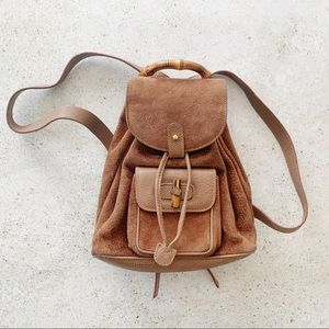 🌾 VINTAGE GUCCI Suede Leather Backpack Bamboo